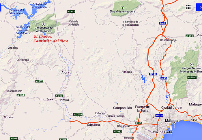 Getting to El Chorro, reservoirs and Camino del Rey