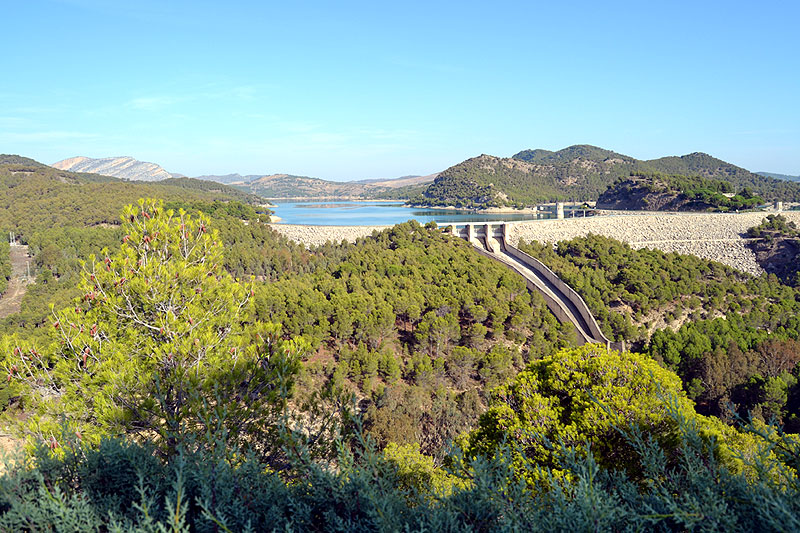 The view from the mirador close to the Guadalhorce reservoir