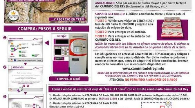 Tickets for combining Train, Bus and Caminito del Rey entry on sale from 1st February 2019.